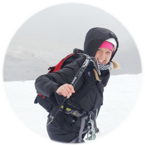 Adventurous travel blogger Saana hiking on a glacier in Swedish Lapland